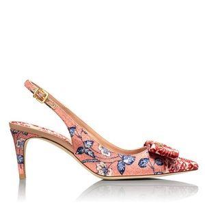 Tory Burch Aimee Slingback Heels Floral Logo 8